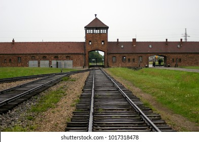 Auschwitz, Poland - 13 July, 2012: train arrival point, remains of WWII era Nazi concentration / extermination camp
