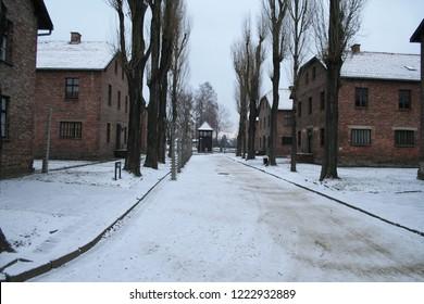 AUSCHWITZ, POLAND - 17 DECEMBER, 2007. Nazi concentration camp Auschwitz I during a winter day, Auschwitz, Poland