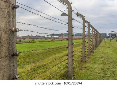 Auschwitz, Poland - 1st November 2016 - Auschwitz was the most deadliest among the extermination camps built during the holocaust. Here in particular a foreground of the barbwire and the barracks