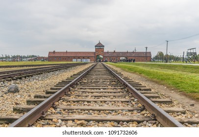 Auschwitz, Poland - 1st November 2016 - Auschwitz was the most deadliest among the extermination camps built during the holocaust. Here in particular a foreground of the Bahnrampe, the trains entrance