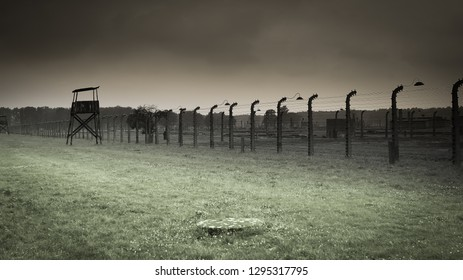 AUSCHWITZ, POLAND - 2018, OCTOBER 17TH: Barbed wires on a drizzling early morning at the concentration camp of Auschwitz where nazi Germany of Adolf Hitler killed 1.5 million people, mainly jews.