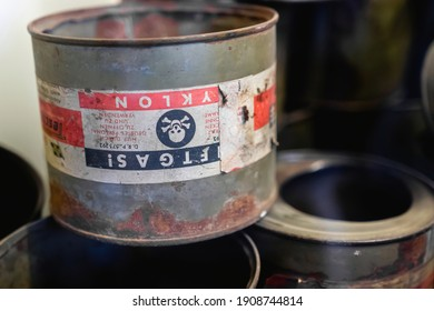 Auschwitz, Poland - 30.06.2019: metal cans with the inscription poison gas cyclone. cans from chemical weapons.