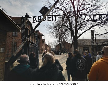 AUSCHWITZ POLAND - 4 APRIL 2019: Main Gate to the Concentration Camp of Auschwitz