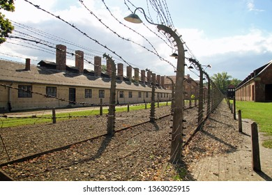 Auschwitz, Poland - April 4, 2019: Auschwitz Concentration Camp, a complex of over 40 concentration and extermination camps built and operated by Nazi Germany in occupied Poland