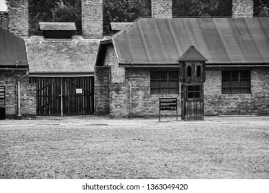 Auschwitz, Poland - April 4, 2019: Auschwitz Concentration Camp in black and white, a complex of over 40 concentration and extermination camps built and operated by Nazi Germany in occupied Poland
