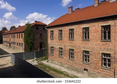AUSCHWITZ, POLAND - AUGUST 24: Outdoors in Auschwitz I camp,  the biggest extermination camp in Europe built by Nazi, on August 24, 2013 in Oswiecim, Poland