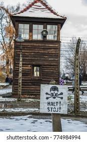 Auschwitz, Poland, December 1 2017: Auschwitz concentration camp on a snowy day in December