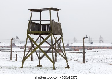 AUSCHWITZ, POLAND - DECEMBER 2017; Watch tower in the Birkenau concentration camp.
