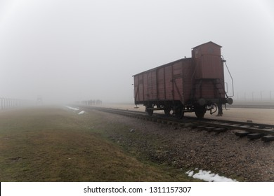 AUSCHWITZ, POLAND - FEBRUARY 10, 2019 ; Transport Train to Auschwitz II Birkenau Concetration Camp. Railway wagon to transport people to the death camp. German Concentration Camp in Oswiecim, Poland.