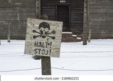 Auschwitz, Poland - February 16, 2018: Stop death sign at the Auschwitz Birkenau concentration camp