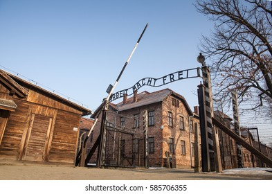 AUSCHWITZ, POLAND - FEBRUARY 22, 2017 ; Museum Auschwitz - Holocaust Memorial Museum. The main gate of the concentration camp Auschwitz with the inscription work makes you free.