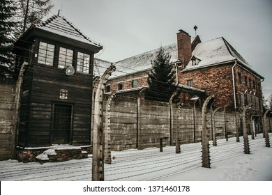 Auschwitz, Poland - January 27, CIRCA YEAR. Auschwitz concentration camp, rescue of surviving prisoners from prison.