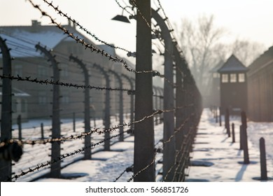 AUSCHWITZ, POLAND - JANUARY 28, 2017 ; Museum Auschwitz - Holocaust Memorial Museum. Anniversary Concentration Camp Liberation Barbed wire around a concentration camp. Shed guard in the background.