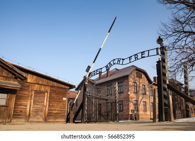 AUSCHWITZ, POLAND - JANUARY 28, 2017 ; Museum Auschwitz - Holocaust Memorial Museum. Anniversary Concentration Camp Liberation. The main gate of the camp with the inscription work makes you free.