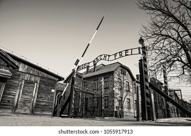 AUSCHWITZ, POLAND - JANUARY 28, 2018 ; Museum Auschwitz - Holocaust Memorial Museum. Anniversary Concentration Camp Liberation. The main gate of the camp with the inscription work makes you free.