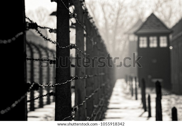 AUSCHWITZ, POLAND - JANUARY 28, 2018 ; Museum Auschwitz - Holocaust Memorial Museum. Anniversary Concentration Camp Liberation Barbed wire around a concentration camp. Shed guard in the background.