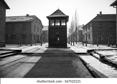 AUSCHWITZ, POLAND - JANUARY 28, 2019 ; Shed guard in Auschwitz. Museum Auschwitz - Birkenau, holocaust museum. Anniversary Concentration Camp Liberation. Barbed wire around a concentration camp.