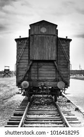AUSCHWITZ, POLAND - July 11, 2017. Historic train on rails at concentration camp Auschwitz Birkenau
