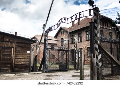 AUSCHWITZ, POLAND - July 11, 2017 ; Holocaust Memorial Museum. The main gate of the concentration camp Auschwitz with the inscription work makes you free.