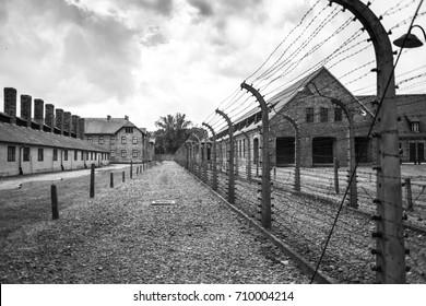 AUSCHWITZ, POLAND - July 11, 2017.Part of Auschwitz Concentration Camp Museum Birkenau.