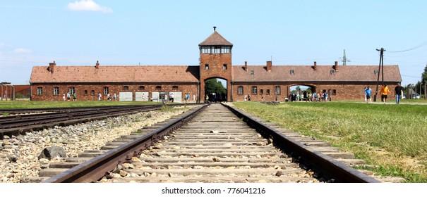 Auschwitz, Poland, July 19. 2014, Railroad in Auschwitz