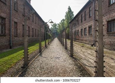 AUSCHWITZ, POLAND -  JULY 23, 2017. Nazi concentration camp Auschwitz I, Auschwitz, Poland