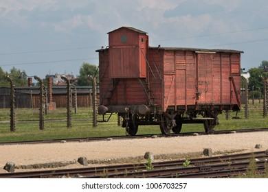 AUSCHWITZ, POLAND -  JULY 23, 2017. Nazi concentration camp Auschwitz II, Auschwitz Birkenau, Poland