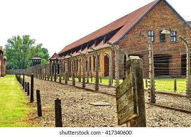 AUSCHWITZ, POLAND - JUNE 4, 2011: Double fence around the Auschwitz Concentration Camp