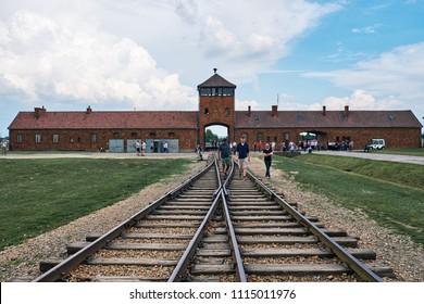Auschwitz, Poland. MAY, 11 2018:  Auschwitz II–Birkenau oncentration camp