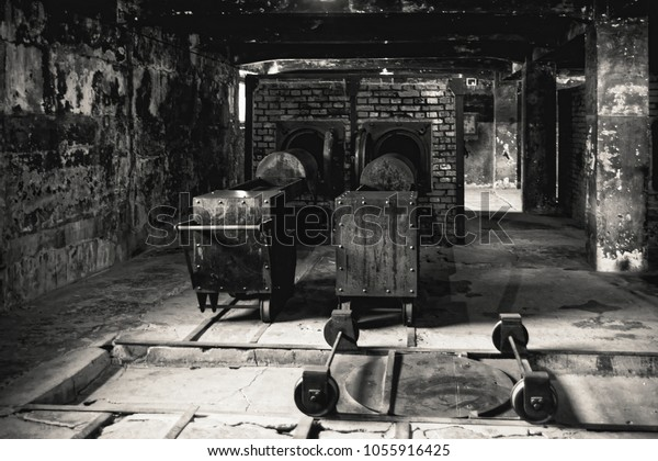 AUSCHWITZ, POLAND - MAY 28, 2017 ; Museum of Holocaust. Crematorium next to the gas chamber. Terrible dark place in a concentration camp.