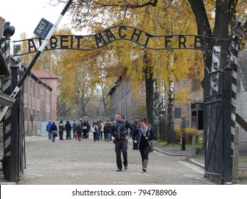Auschwitz, Poland - November, 09, 2012:The main entrance gate to Auschwitz concentration camp