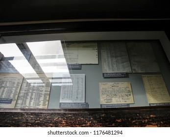 Auschwitz, Poland - November 10 2013: Documents in Auschwitz Concentration Camp