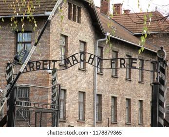 Auschwitz, Poland - November 10 2013: Auschwitz Concentration Camp Arbeit Macht Frei Entrance Gate
