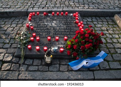 Auschwitz, Poland - November 5, 2008: Dutch monument that commemorates the slaughter sacrifices of the former concentration and extermination camp Auschwitz-Birkenau in Poland.