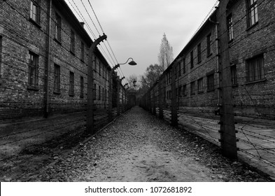 Auschwitz, Poland, October 212017. Electric fence in Auschwitz-Birkenau I, Nazi concentration camp