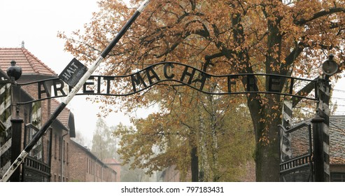 AUSCHWITZ, POLAND - October 22, 2017. Entrance gate at the Memorial and museum Auschwitz-Birkenau, former German Nazi concentration and extermination camp.