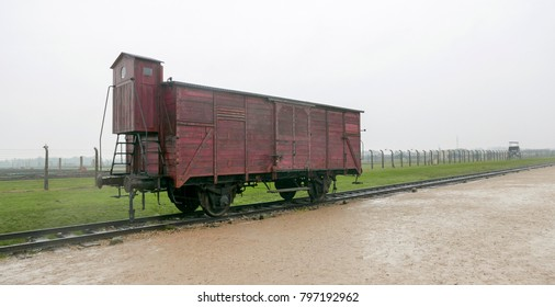 Auschwitz, Poland - October 22, 2017: Deportation wagon at the Memorial and museum Auschwitz-Birkenau, former German Nazi concentration and extermination camp.U