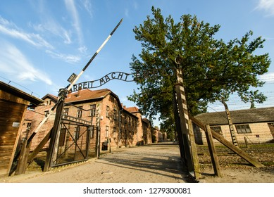 AUSCHWITZ, POLAND - SEPT 27, 2017: Auschwitz Holocaust Memorial Museum. The main gate of concentration camp with inscription: arbeit macht frei - work makes you free