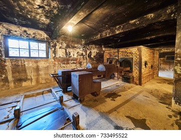 AUSCHWITZ, POLAND - SEPTEMBER 2, 2017. The brick crematory inside a building of Auschwitz concentration camp, Auschwitz, Poland