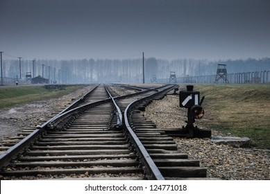 Auschwitz in Winter Fog Train Track