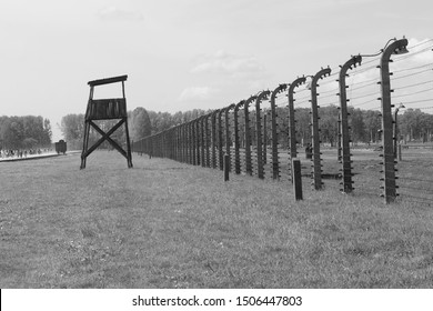Auschwitz-Birkenau concentration camp, Poland - 2018: The largest of the German Nazi concentration camps and extermination centers. Historical site the memorized the holocaust.