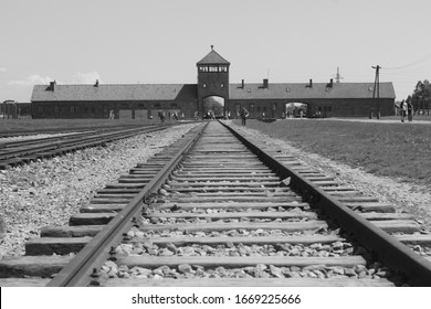 Auschwitz-Birkenau concentration camp, Poland - January, 2020: The largest of the German Nazi concentration camps and extermination centers. Historical site that memorized the holocaust.