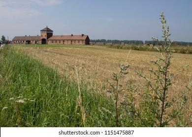 Auschwitz-Birkenau / Poland - 07/27/2018: Auschwitz-Birkenau concentration camp