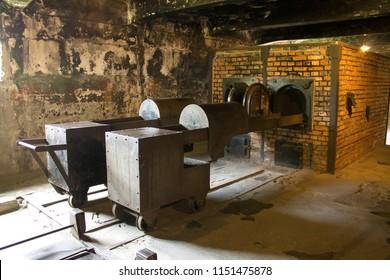 Auschwitz-Birkenau / Poland - 07/27/2018: Crematory oven at Auschwitz concentration camp