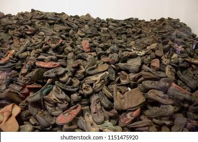 Auschwitz-Birkenau / Poland - 07/27/2018: Shoes that belonged to Auschwitz victims