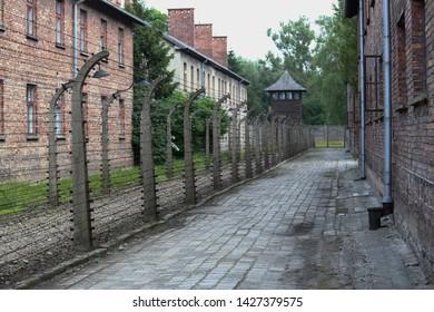 Auschwitz-Birkenau, Poland - 14 June 2019: Part of Auschwitz Concentration Camp Holocaust Memorial Museum, Arbeit Macht Frei