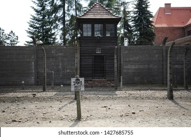 Auschwitz-Birkenau, Poland - 14 June 2019: National Day of Remembrance for Victims of German Nazi concentration and extermination camps, Part of Auschwitz Concentration Camp Holocaust Memorial Museum