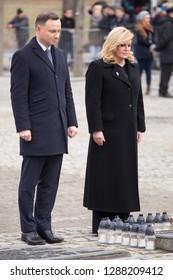 Auschwitz-Birkenau, Poland - 27 January 2016: president of Poland Andrzej Duda and president of Croatia Kolinda Grabar-Kitarovic at the monument, 71 Anniversary of Liberation of Auschwitz-Birkenau