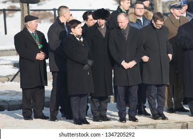 Auschwitz-Birkenau, Poland - 27 January 2017: 72 th Anniversary of the Liberation of Auschwitz. Prime Minister Beata Szydlo and Wojciech Kolarski at the monument.