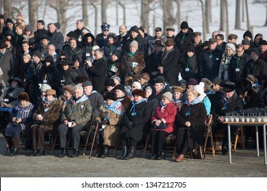 Auschwitz-Birkenau, Poland - 27 January 2017: 72 th Anniversary of the Liberation of Auschwitz. Survived prisoners of the german concentration camp Auschwitz-Birkenau at the monument.